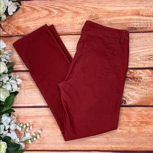 LOFT Modern Straight Leg Red Corduroy Pants